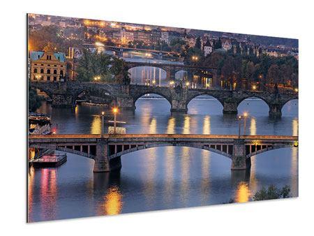 Aluminiumbild Brücken in Prag