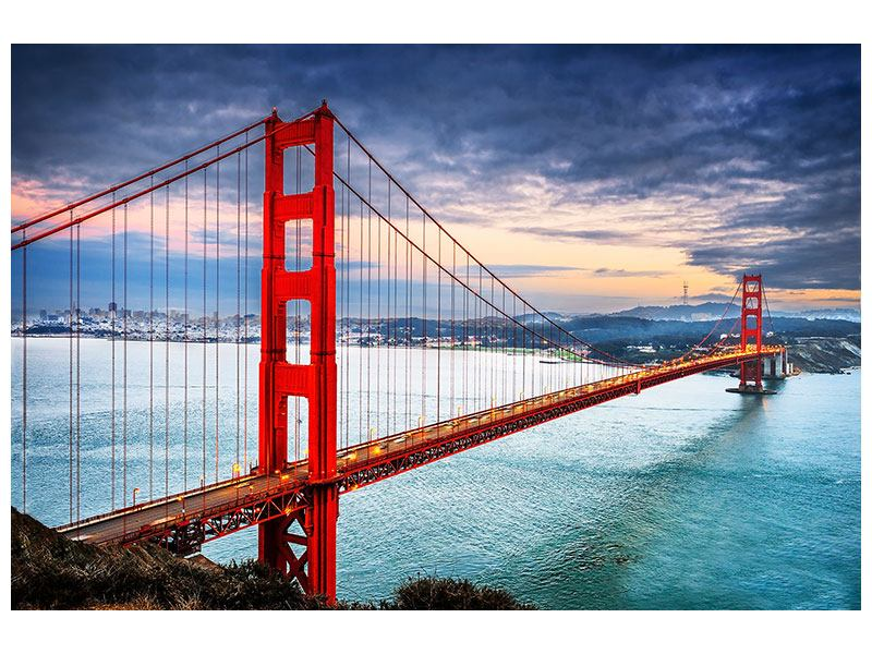 Aluminiumbild Der Golden Gate Bridge bei Sonnenuntergang