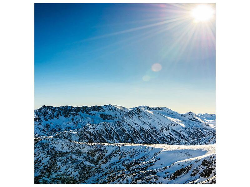 Aluminiumbild Berge im Schnee