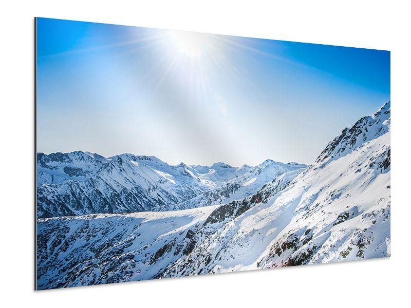 Aluminiumbild Bergpanorama im Schnee