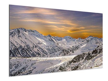 Aluminiumbild Sonnenuntergang in den Bergen