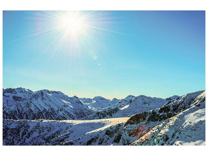 Aluminiumbild Sonnige Berggipfel im Schnee