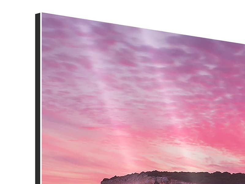 Aluminiumbild Feuriger Sonnenuntergang am Meer