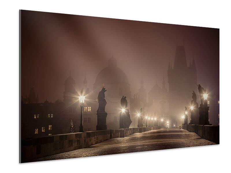 Aluminiumbild Die Karlsbrücke bei Nacht