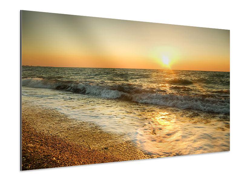 Aluminiumbild Sonnenuntergang am Meer