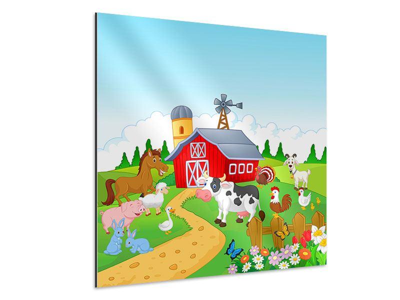 Aluminiumbild Der lustige Bauernhof