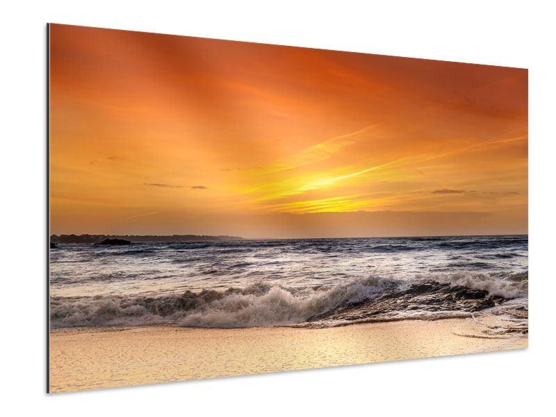 Aluminiumbild See mit Sonnenuntergang