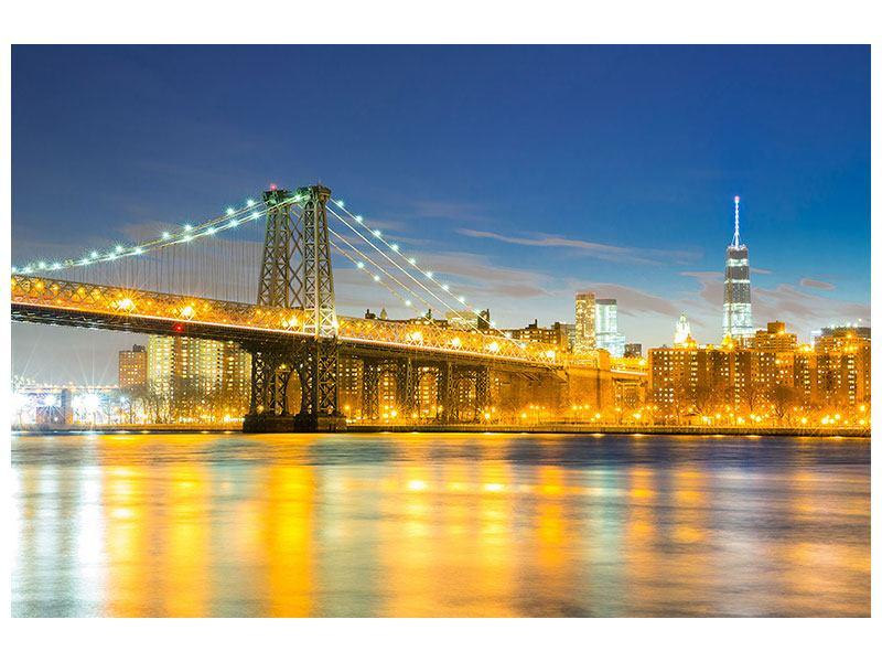Aluminiumbild Brooklyn Bridge bei Nacht
