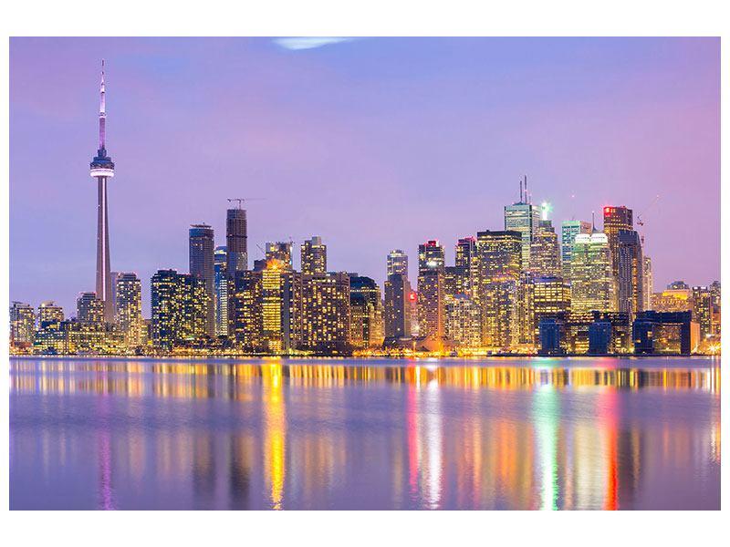 Aluminiumbild Skyline Toronto bei Nacht