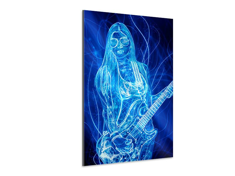 Aluminiumbild Leuchtende Gitarristin