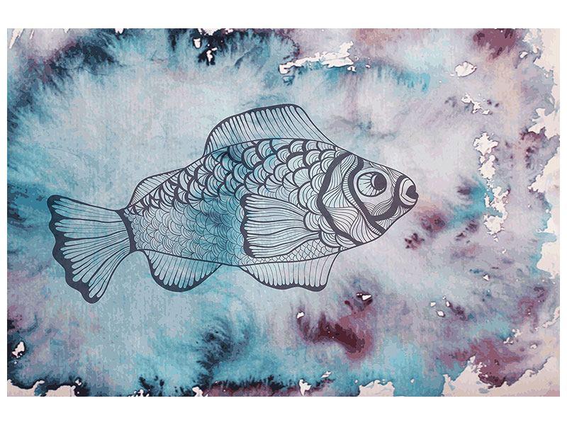 Aluminiumbild Fisch-Aquarell