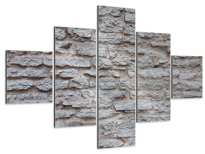 Aluminiumbild 5-teilig Steinmauer