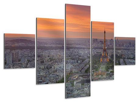 Aluminiumbild 5-teilig Skyline Paris bei Sonnenuntergang