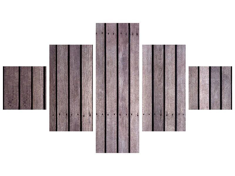 Aluminiumbild 5-teilig Holzwand