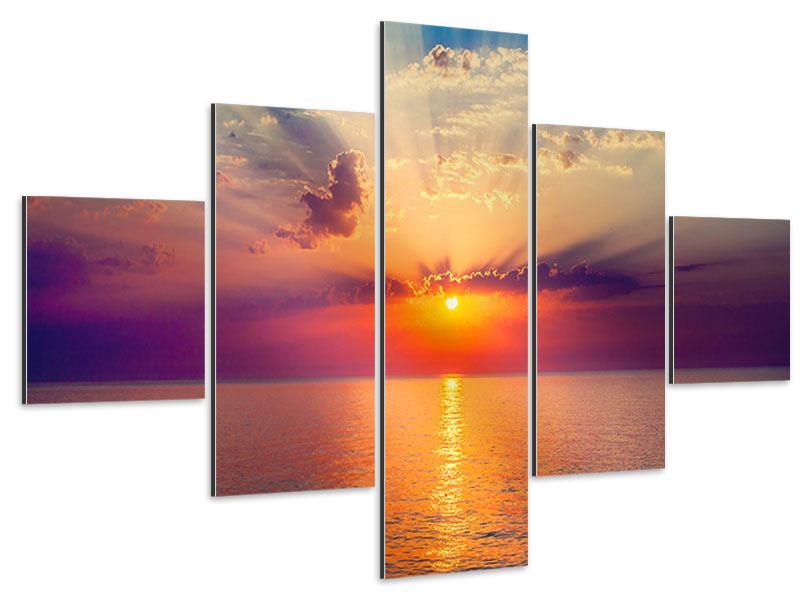 Aluminiumbild 5-teilig Mystischer Sonnenaufgang