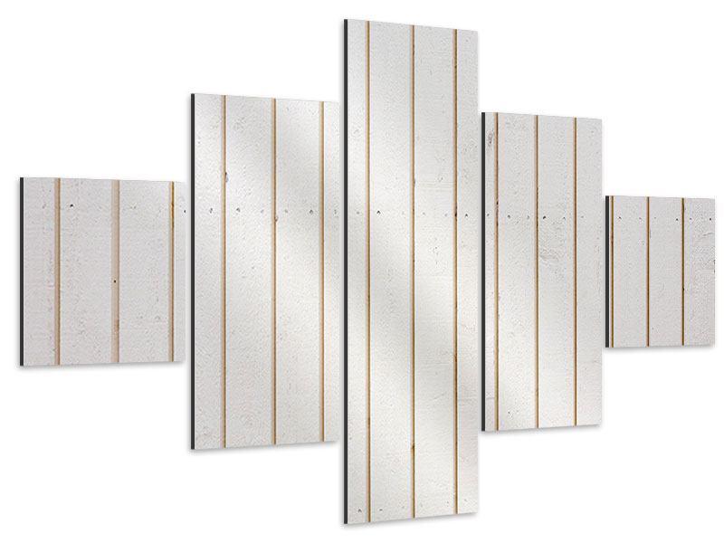 Aluminiumbild 5-teilig Mediterranes Holz