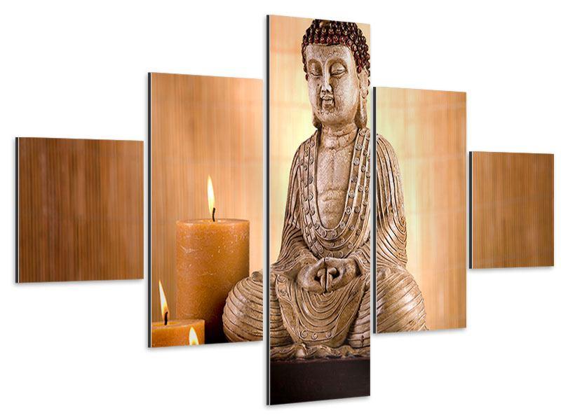 Aluminiumbild 5-teilig Buddha in der Meditation
