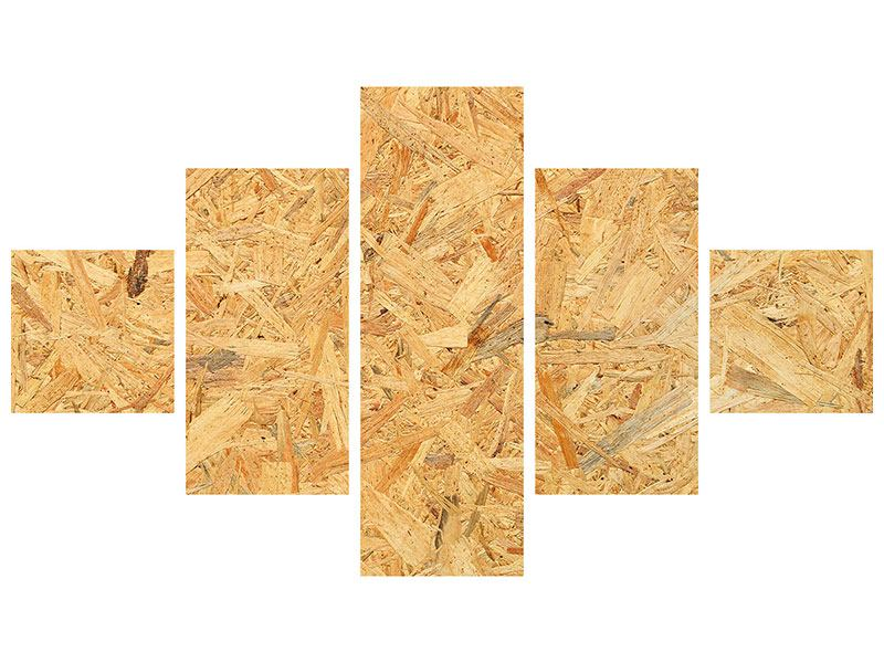 Aluminiumbild 5-teilig Gepresstes Holz