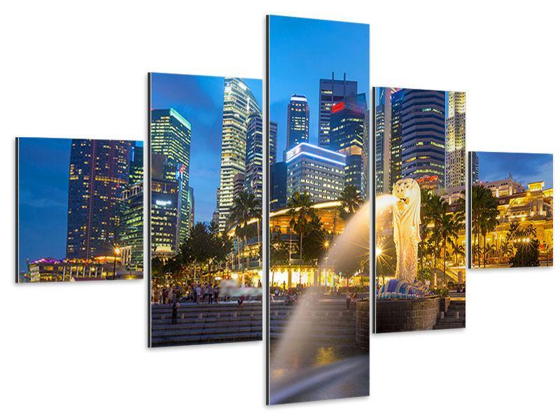 Aluminiumbild 5-teilig Skyline Singapur im Lichtermeer