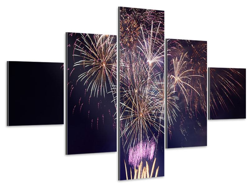 Aluminiumbild 5-teilig Feuerwerk