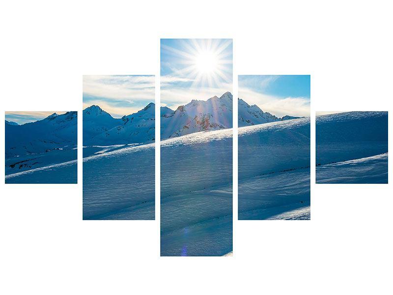 Aluminiumbild 5-teilig Ein Wintermärchen in den Bergen