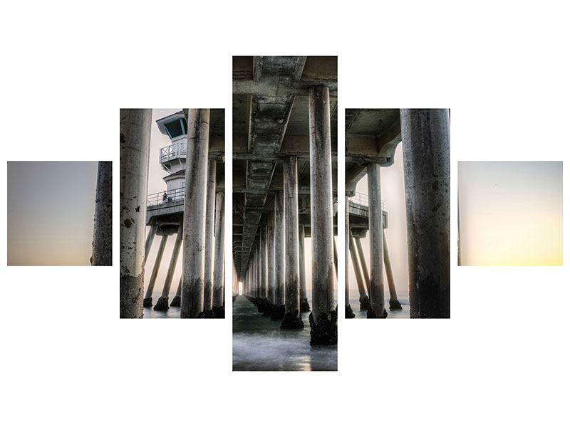 Aluminiumbild 5-teilig Brückenpfeiler