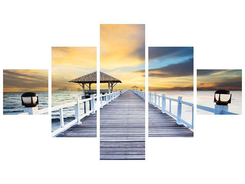 Aluminiumbild 5-teilig Die Brücke ins Meer