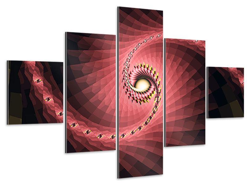 Aluminiumbild 5-teilig Abstrakte Windungen