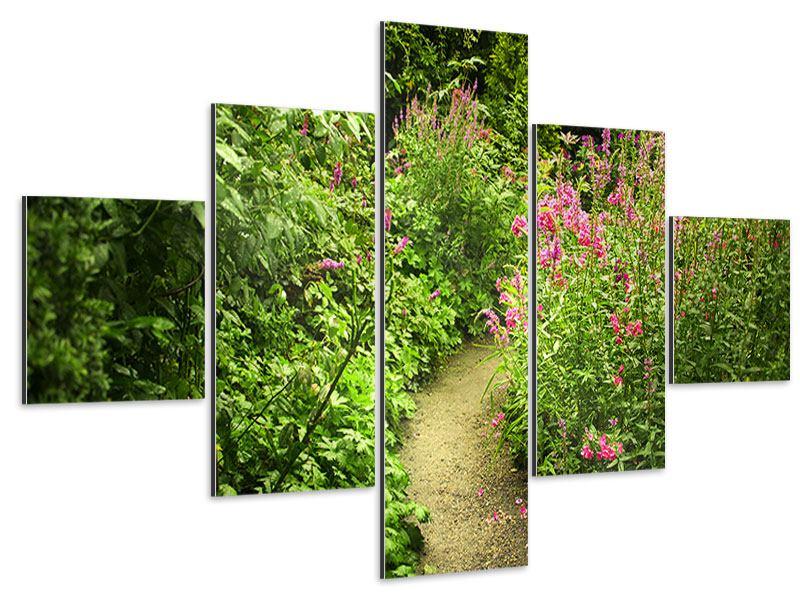 Aluminiumbild 5-teilig Gartenweg