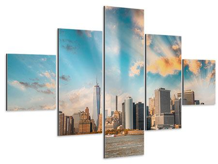 Aluminiumbild 5-teilig Skyline New York from the other Side