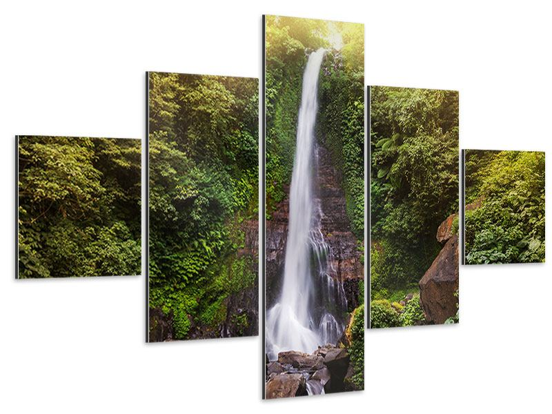 Aluminiumbild 5-teilig Wasserfall Bali