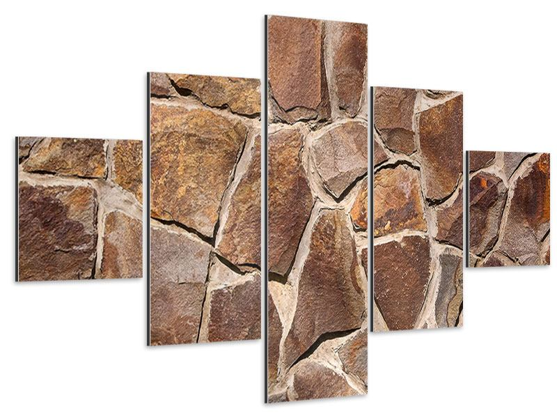 Aluminiumbild 5-teilig Designmauer