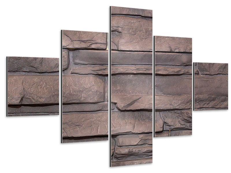 Aluminiumbild 5-teilig Luxusmauer