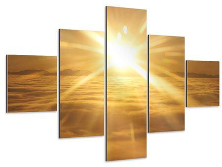 Aluminiumbild 5-teilig Über dem Wolkenmeer