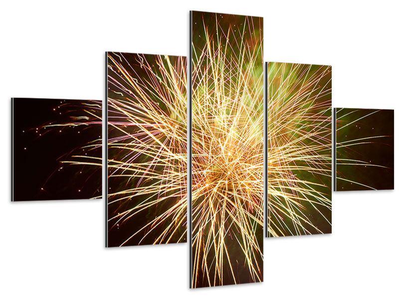 Aluminiumbild 5-teilig Feuerwerk XXL