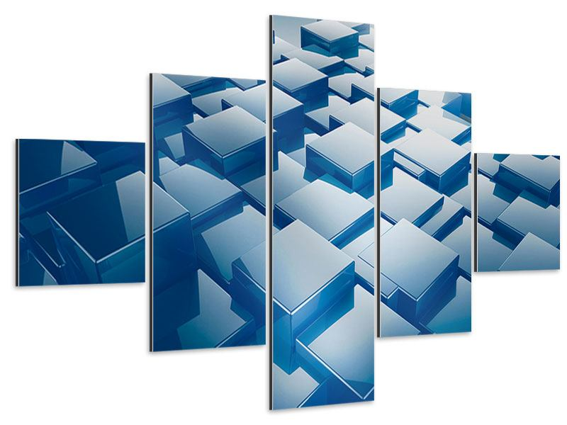 Aluminiumbild 5-teilig 3D-Cubes