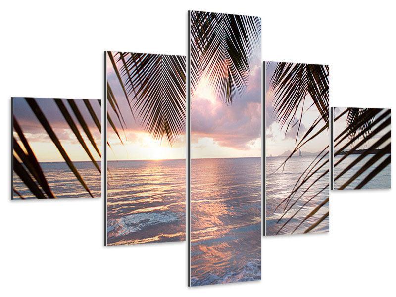 Aluminiumbild 5-teilig Unter Palmenblätter