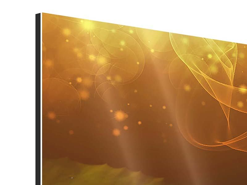 Aluminiumbild 5-teilig Der Frosch und das Seerosenblatt