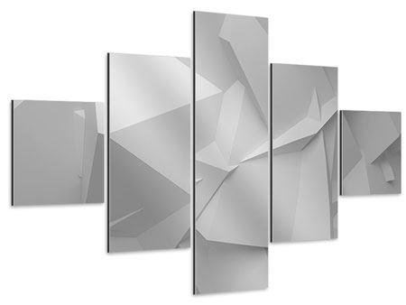 Aluminiumbild 5-teilig 3D-Raster