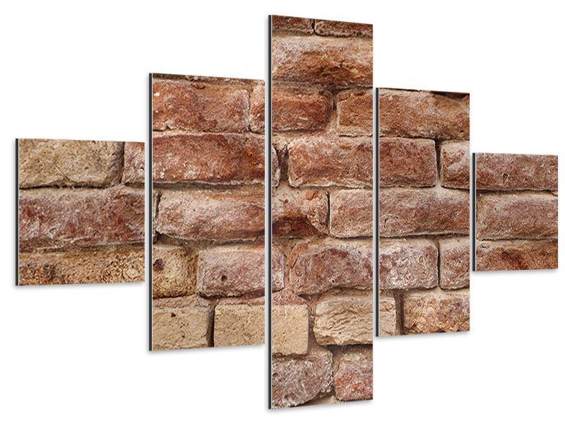 Aluminiumbild 5-teilig Loft-Mauer