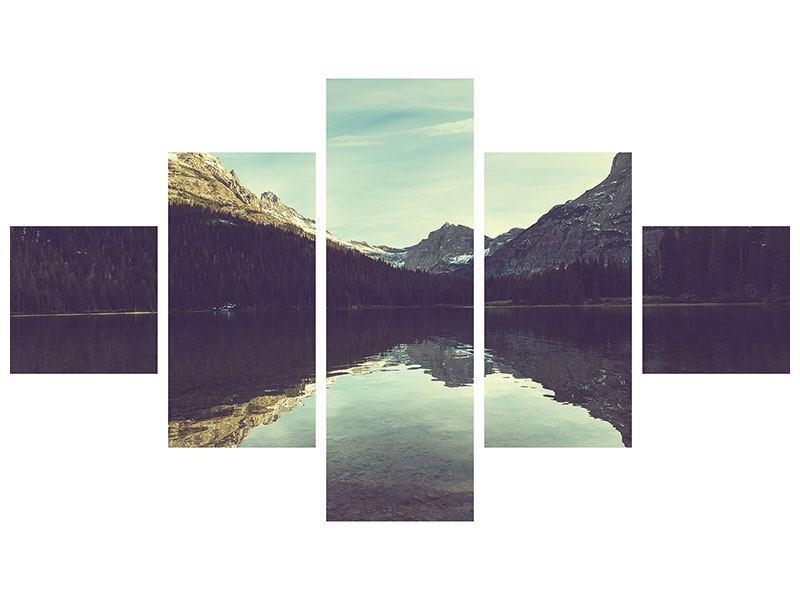 Aluminiumbild 5-teilig Spiegelung im Bergsee