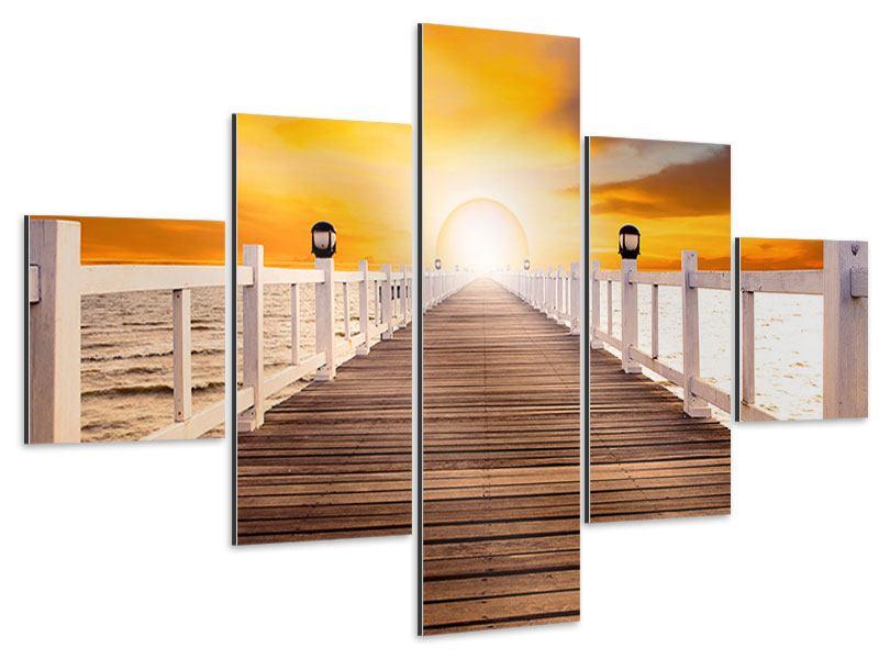 Aluminiumbild 5-teilig Die Brücke Ins Glück