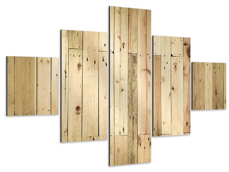 Aluminiumbild 5-teilig Holzpaneelen