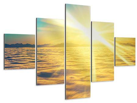 Aluminiumbild 5-teilig Sonnenuntergang über den Wolken