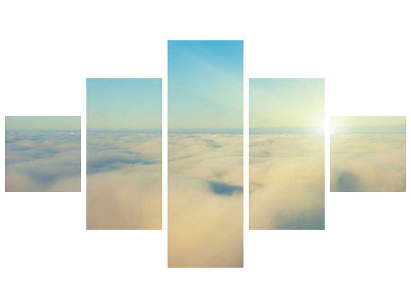 Aluminiumbild 5-teilig Dämmerung über den Wolken