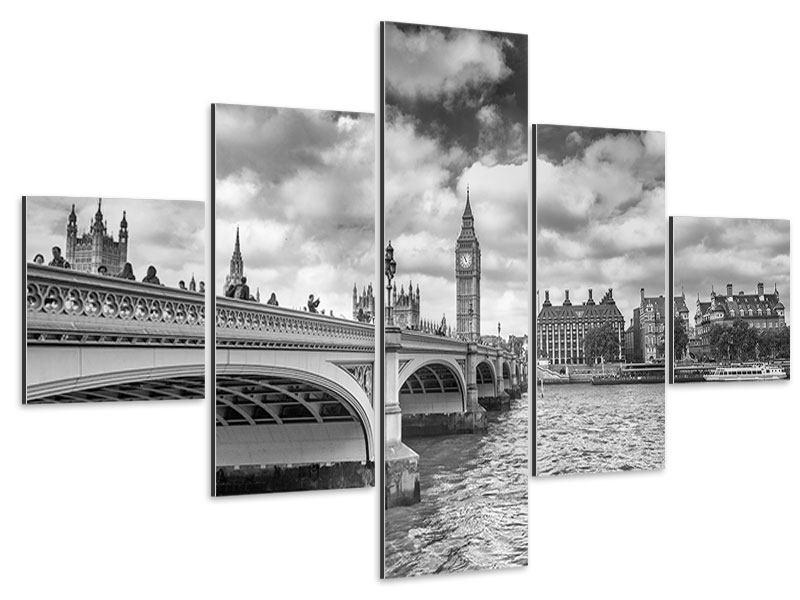 Aluminiumbild 5-teilig Westminster Bridge