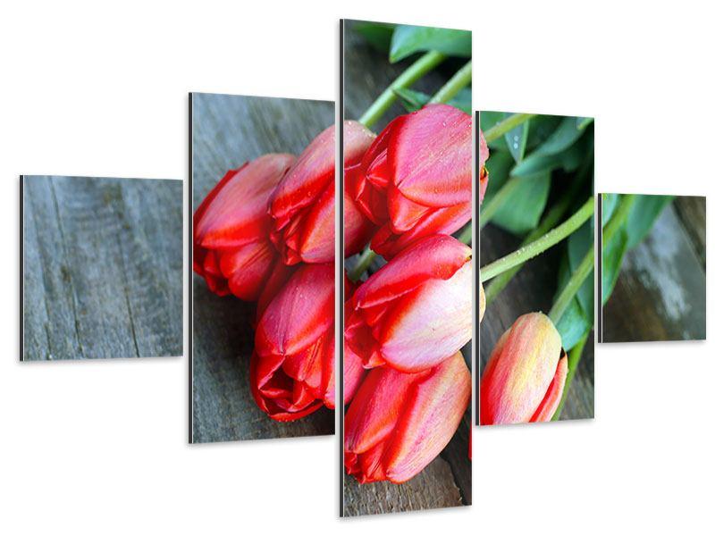 Aluminiumbild 5-teilig Der rote Tulpenstrauss