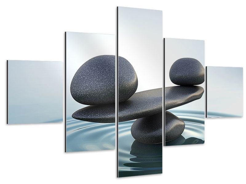 Aluminiumbild 5-teilig Steinbalance