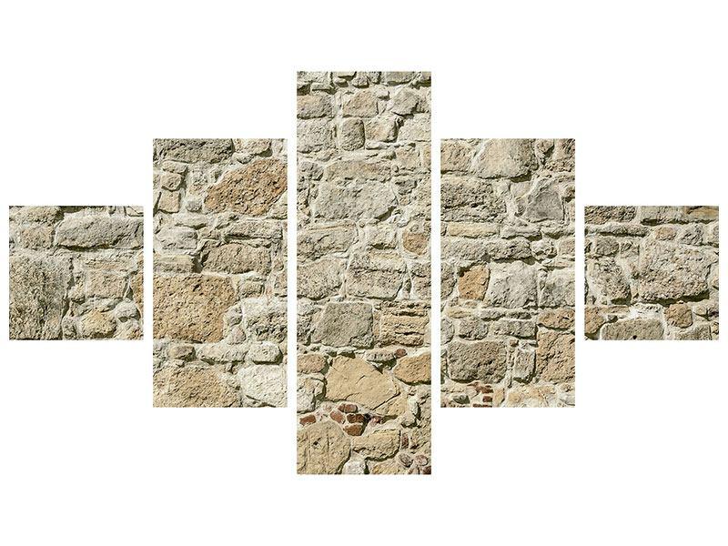Aluminiumbild 5-teilig Naturmauer