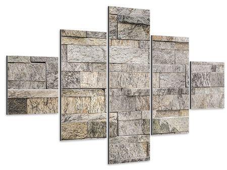 Aluminiumbild 5-teilig Elegante Steinmauer